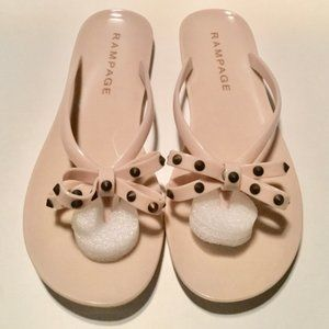 Rampage Opella Nude Jelly Sandals With Studded Bow